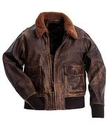 G1 Fur Collar Aviator Pilot Air Force Distressed Brown Genuine Leather Jacket - $127.00