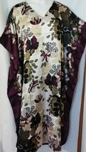 Dress Caftan Lounger Burgundy Brown Floral Print One Size 2X 3X Free Shipping - $20.56