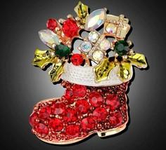 Stunning Diamonte Gold Plated Vintage Look Christmas Santa Boot Brooch P... - $13.18