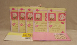 """5 Heavy Duty Gift Bags Pink Rose Petal Design 8"""" x 6""""  & Tissue Paper Lot of 7 - $10.84"""