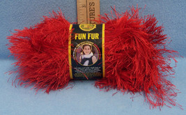 Lion Brand Fun Fur Bulky Polyester Yarn Bright Red Long Fringe Made in Turkey - $8.90