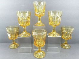 6 Anchor Hocking Fairfield Amber On The Rocks Goblets Vintage 8 Oz Glass... - $39.27