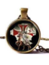 Knights Templar Necklace - Knight on Horse  - $10.99