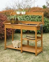 Potting Bench Table Wood Outdoor Garden Work Station Planting Sink Shel... - $127.18