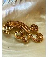 Estate Monet Signed Large Goldtone Abstract Wind Curly Spray Pin Brooch ... - $18.55