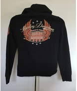 Harley Davidson Motorcycles Embroidered Hoodie Womens Large Bling Wing Logo - $36.58