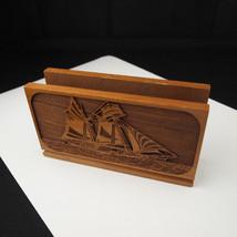 Vintage Solid American Walnut Wood Ship Boat Napkin Bar Stand Holder - $16.17