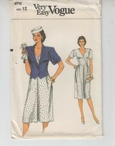 Vogue 8710 Misses Jacket Dress Semi-fitted Sewing Pattern 12 Uncut - $11.87