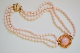 Vintage pink Peking art glass necklace triple strand choker fancy clasp ... - $36.62