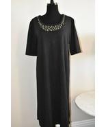 Susan Graver Travel Dress Beaded Neck Black Knee Length Comfortable Size... - $16.01