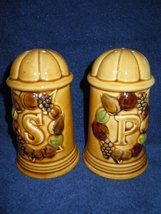 Vintage Large Brown & Tan Ceramic Salt and Pepp... - $3.99