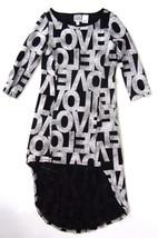 D SIGNED DISNEY Girl's Love Graphic Print Dress M 7 8 High Low Hi Lo Bla... - $11.99