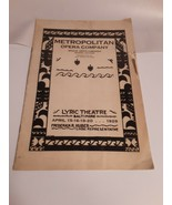 1929 Metropolitan Opera Company Lyric Theatre Baltimore Program W/Insert - $7.91