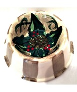 Christmas Pet Food Dish Signed Shannon Norton '97 Glazed Ceramic Hand Pa... - $23.76