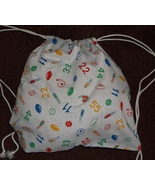 handcrafted lined fabric day pack book bag drawstring 14 x 16 SPORTS Balls - $15.00