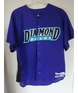 Vintage Majestic Arizona Diamondbacks # 37 Button Front Stitched Jersey Men L  - $38.63