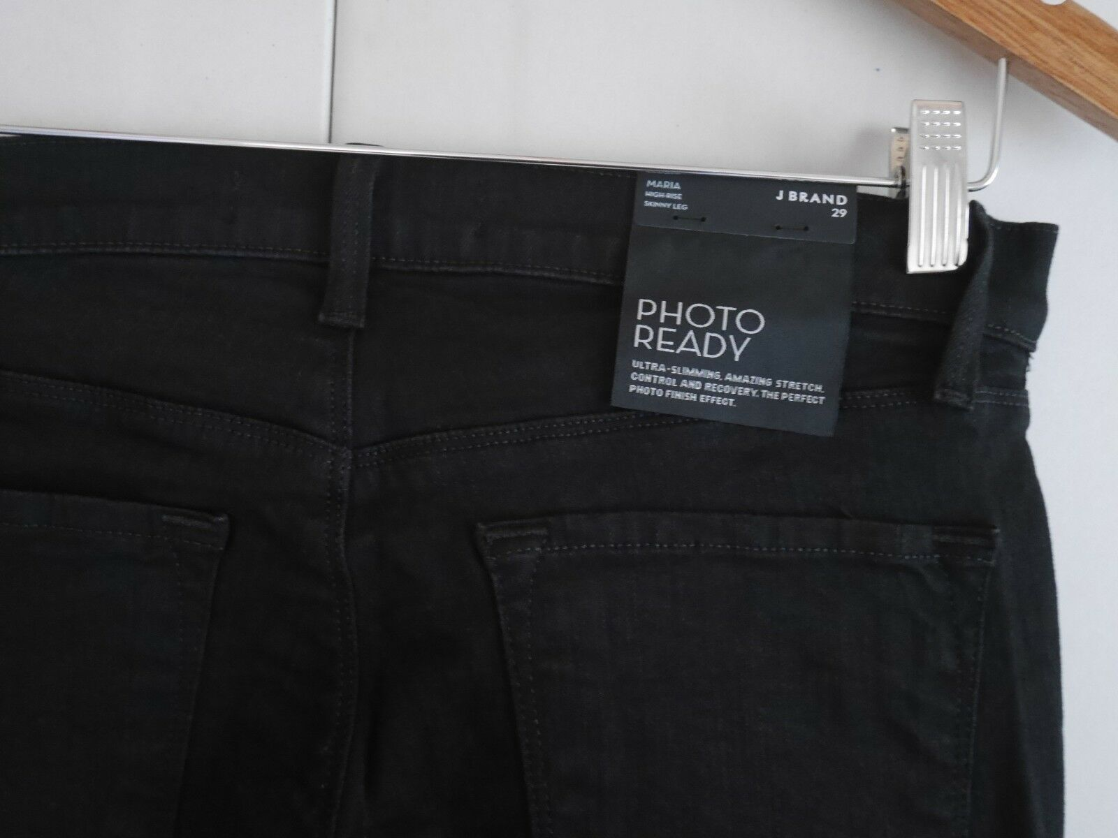 $198 NEW J Brand Maria - High Rise Skinny in Black Heart Destroyed - Size 29 image 4