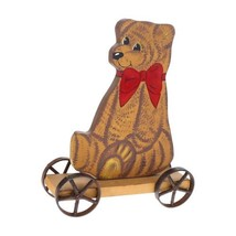 Vintage Large Antique Bear Pull Toy Iron Wheels Wood Decor Brown - $9.89