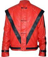 Men's King of Pop Star Michael Jackson Black Stripes Red Leather Jacket - $64.60+