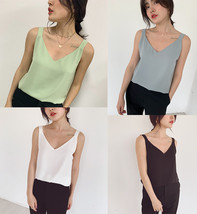 2020 V-neck Chiffon Sleeveless Top Ladies Chiffon Tank Bridesmaid Chiffon Tank T image 3