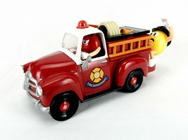 M&M Candy Dispenser, Mechanical Fire Engine, Red & Yellow Characters, Vintage - $24.45