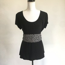 New Directions Black Pullover Top w Black White Polka Dots Tie Back Shor... - $13.09