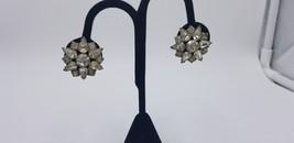 Vintage Signed Garne All Clear Rhinestone Star Shaped Clip On Earrings - $25.14