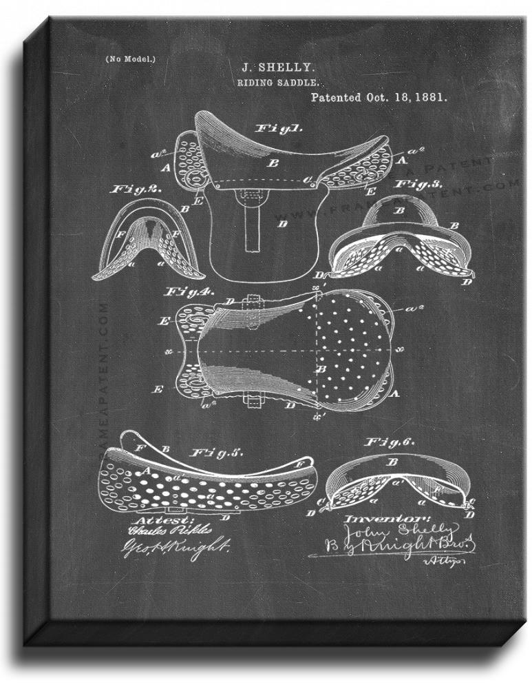 Primary image for Riding Saddle Patent Print Chalkboard on Canvas