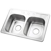 Gourmetier Studio GKTD332283 Self Rimming Double Bowl Sink, Satin Nickel  - $117.31
