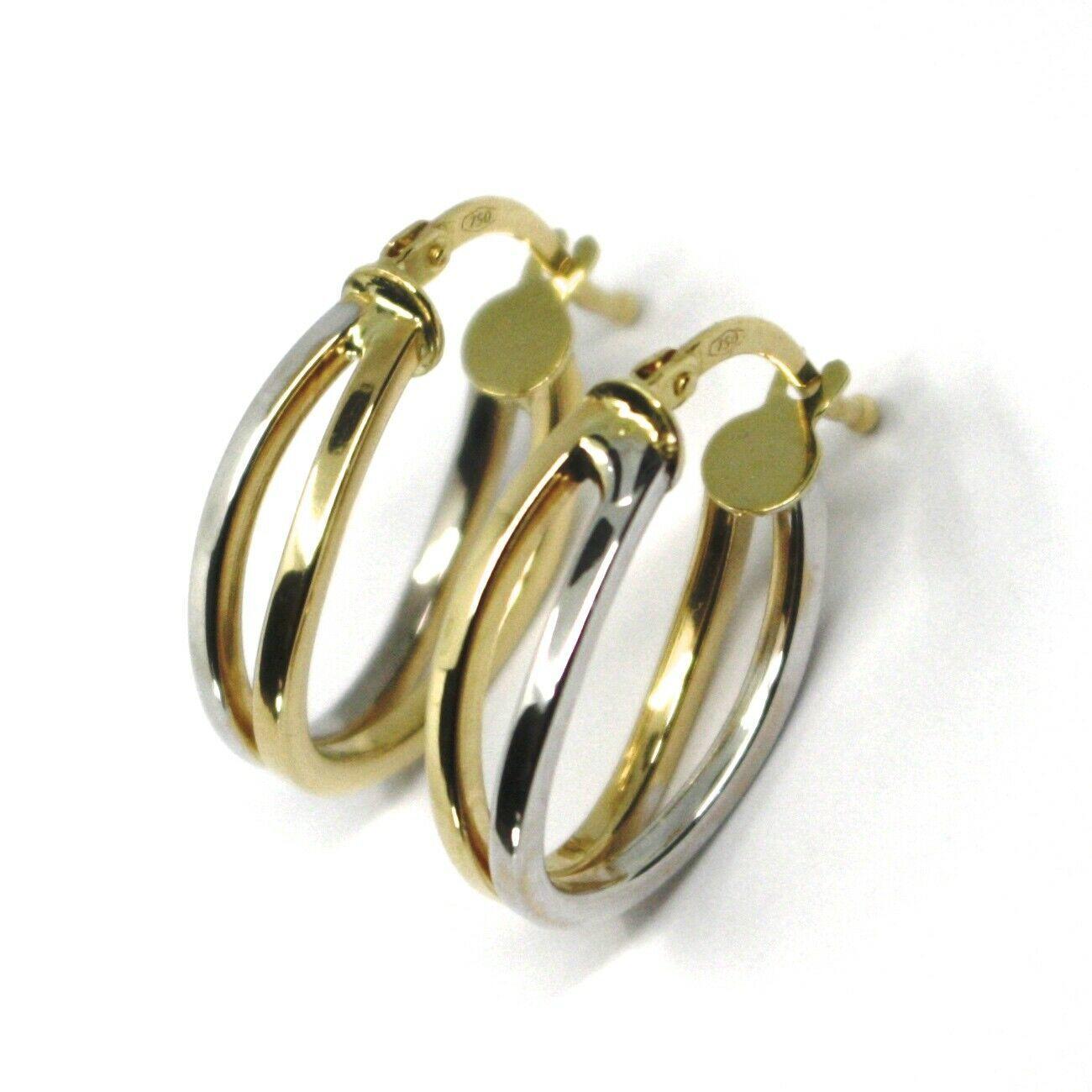 18K YELLOW WHITE GOLD PENDANT EARRINGS ONDULATE OVAL DOUBLE TUBE HOOPS 2cm