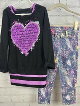 Justice Outfit Set - Heart Tunic + Premium Jeans Knit Jegging Splatter S... - $29.70