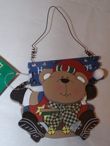 """Commodore Wooden Ornament - Bear """"Happy Holidays"""" - $6.64"""