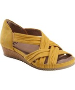 EARTH WOMEN'S FICUS GEMINI WEDGE LEATHER SANDAL YELLOW - $80.99