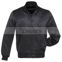Letterman Baseball College Varsity Bomber Super Jacket Sports Wear Black Satin - $49.98+