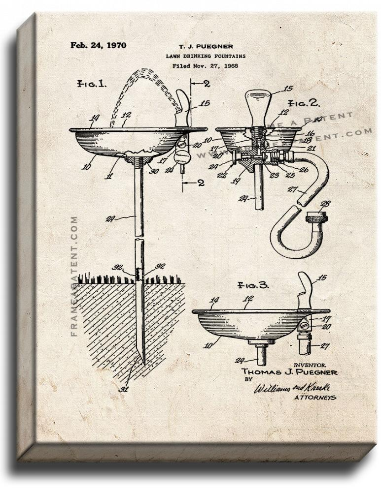 Primary image for Lawn Drinking Fountains Patent Print Old Look on Canvas