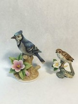 Andrea by Sadek Blue Jay Porcelain Figurine 9386 and Royal Crown Brown T... - £47.36 GBP
