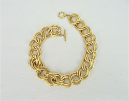 Vintage Costume Jewelry, Gold Tone, Matte, Chunky Double Link Necklace N... - $12.69