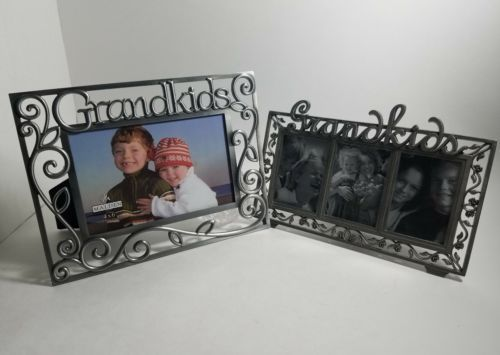 "Lot of 2 Grandkids picture frames, 4"" x 6"",  2""x 3"" Malden, Felco, steel frame"
