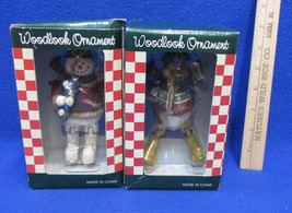 Jointed Christmas Ornaments Woodlook Duck & Snowman In Red Resin NOS Set... - $14.84