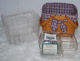 Longaberger Basket Combo 5PC Set Blueberry Plaid Liner Handle Tie & 2 Pr... - $74.20