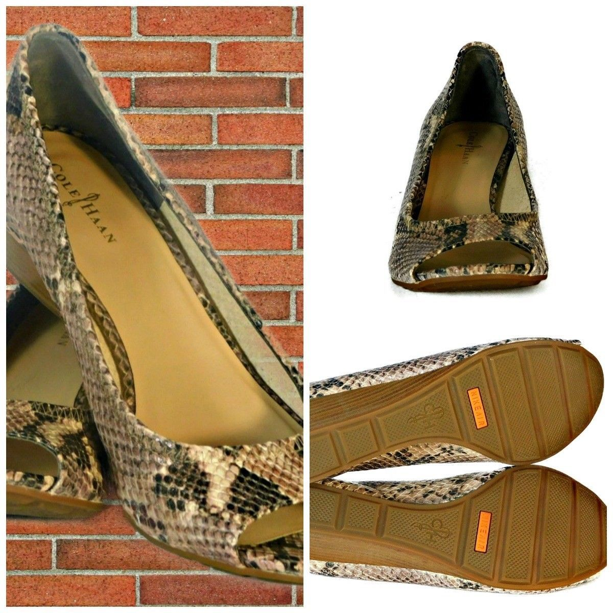 252b7526b0d COLE HAAN Air Roccia Snake Print Open Toe Wedge Heels Shoes Size 8.5M -   35.64