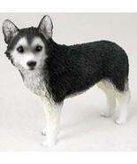 SIBERIAN HUSKY DOG Figurine Statue Hand Painted Resin Black White Brown ... - $19.99