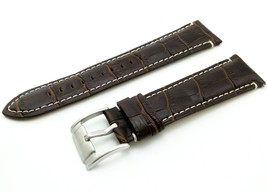 Brown/White Cr. Strap/Band for FOSSIL Watch Genuine Leather Silver/Buckl... - $20.00