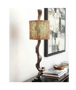 Weathered Driftwood Table Lamp Brown 40H Rustic Twine Shade Coastal Deco... - $251.80