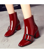 91B012 Lady's thick heeled booties,candy color, size 4-8.5, burgundy - $98.80