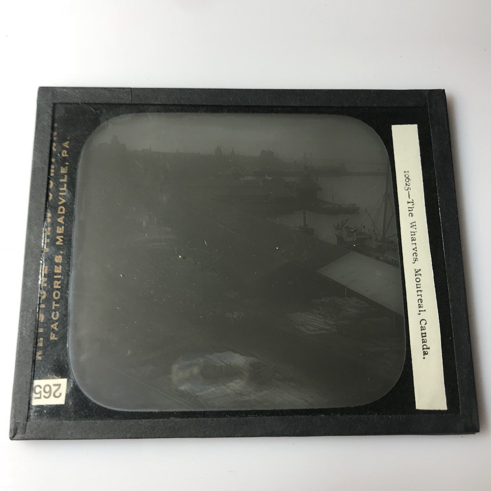 Vtg Magic Lantern Glass Slide Photo Keystone The Wharves Montreal Canada
