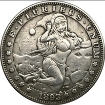 Hobo Nickel 1893 US Morgan Dollar Kinky Girl Bikini Sexy Santa Casted Co... - $11.99