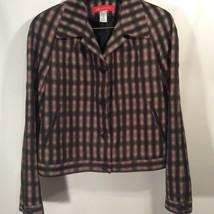 ANNE KLEIN Sz M Black Purple Cream Abstract Button Front Back Cuffs Line... - $15.61
