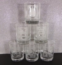 Etched Christmas Scenes Double Old Fashioned Glass Drink Tumbler (s) LOT... - $34.60