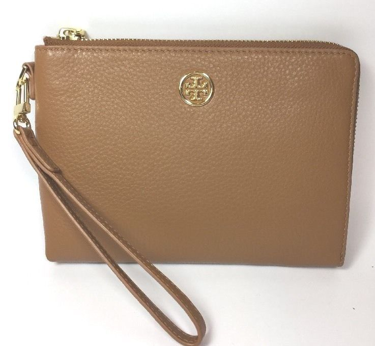 Primary image for Tory Burch Landon Large Wristlet Bark Brown RRP £165